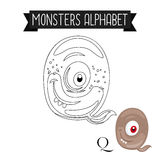 Coloring page monsters alphabet letter Q Stock Photos