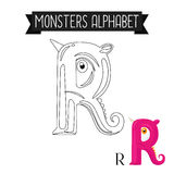 Coloring page monsters alphabet letter R Stock Image
