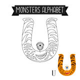 Coloring page monsters alphabet letter U Royalty Free Stock Photography
