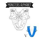 Coloring page monsters alphabet letter V. Coloring page monsters alphabet for kids. Letter V vector illustration Stock Images