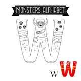 Coloring page monsters alphabet letter W Stock Photos
