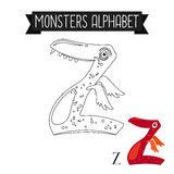 Coloring page monsters alphabet letter Z. Coloring page monsters alphabet for kids. Letter Z vector illustration Stock Photo