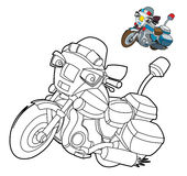 Coloring page - motorcycle - illustration for the children. Beautiful motorbike coloring page for children stock illustration