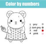 Coloring page with mouse character. Color by numbers educational children game, drawing kids activity Stock Image