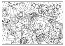 Coloring page with naughty birds and sleeping bear in the morning Royalty Free Stock Image