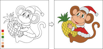 Coloring page with New year monkey Royalty Free Stock Photos