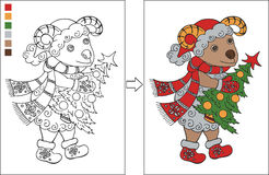 Coloring page with New year ram. Christmas coloring page for kids. Cartoon ram in Santa Claus hat with Christmas tree. Creative vector illustration Stock Image