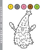 Coloring page by numbers christmas tree Royalty Free Stock Photography