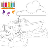 Coloring page with octopus in the sea. Coloring page for kids. Giant octopus is sitting on the stone and waiting for the ship Stock Photo