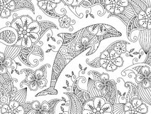 Coloring page with one jumping dolphin on floral background. Horizontal composition. Coloring book for adult and older children. Editable vector illustration Stock Photography