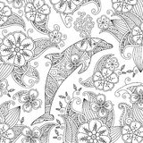Coloring page with one jumping dolphin on floral background. Stock Photography