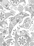 Coloring page with one jumping dolphin on floral background. Vertical composition. Coloring book for adult and older children. Editable vector illustration Stock Photo