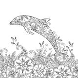 Coloring page with one jumping dolphin in the sea. Stock Photography