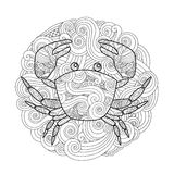 Coloring page. Ornate crab in circle, mandala isolated on white background. Royalty Free Stock Images