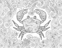 Coloring page. Ornate crab and sea wave curl background. Stock Photo