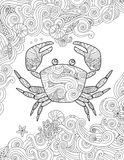 Coloring page. Ornate crab and sea waves. Vertical composition. Stock Photo