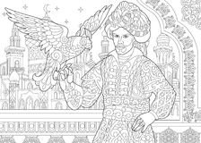 Zentangle stylized ottoman sultan with hawk. Coloring page of ottoman sultan and falcon bird. Islamic filigree decor, arabic mosque, moon and stars on the Royalty Free Stock Photos