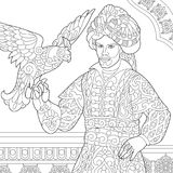 Zentangle stylized ottoman sultan with hawk Royalty Free Stock Images
