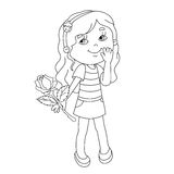 Coloring page outline of Beautiful girl with rose in hand Royalty Free Stock Photography