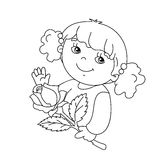 Coloring page outline of Beautiful girl with rose Royalty Free Stock Images