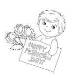 Coloring page outline of boy with card for Mother's Day Stock Photos