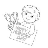 Coloring page outline of boy with card for Mother's Day Royalty Free Stock Photography