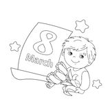 Coloring page outline of boy with flowers with calendar. March 8 Royalty Free Stock Photography