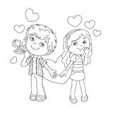 Coloring Page Outline Of Boy and girl with hearts Royalty Free Stock Images