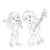 Coloring Page Outline Of boy and girl singing a song Stock Images