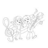 Coloring Page Outline Of boy and girl singing a song Royalty Free Stock Photos