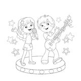 Coloring Page Outline Of boy and girl singing a song Stock Photos