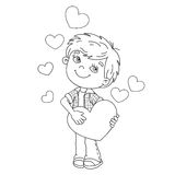 Coloring Page Outline Of boy with hearts Royalty Free Stock Photography