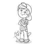 Coloring Page Outline Of a Boy with his cat Stock Image