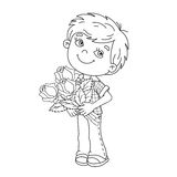 Coloring Page Outline Of boy holding a bouquet of roses Royalty Free Stock Image