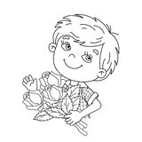 Coloring Page Outline Of boy holding a bouquet of roses Stock Photo