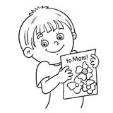 Coloring Page Outline Of a boy with a picture Stock Images