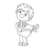 Coloring Page Outline Of  boy with rose in hand with heart Royalty Free Stock Photos