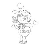 Coloring Page Outline Of boy with rose in hand with hearts Royalty Free Stock Photo