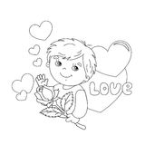Coloring page outline of boy with rose in hand with hearts Stock Photos