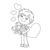 Coloring Page Outline Of boy with roses with hearts Royalty Free Stock Images