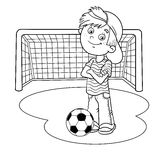 Coloring Page Outline Of A Boy with a soccer ball  Stock Photos