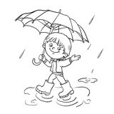 Coloring Page Outline Of a boy walking in the rain. Coloring Page Outline Of a Cartoon joyful boy walking in the rain with an umbrella Royalty Free Stock Photography