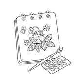 Coloring Page Outline Of cartoon album or sketchbook with brush and paints. Drawing of strawberries. Coloring book for kids Royalty Free Stock Photo