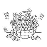 Coloring Page Outline Of cartoon basket of berries. Garden strawberry. Summer gifts of nature. Coloring book for kids Royalty Free Stock Photo
