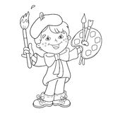 Coloring Page Outline Of cartoon boy artist with paints.  Royalty Free Stock Photo
