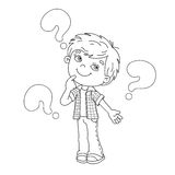 Coloring page outline of cartoon Boy with the big questions Stock Photography