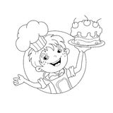 Coloring Page Outline Of cartoon Boy chef with cake Royalty Free Stock Photos