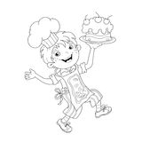 Coloring Page Outline Of cartoon Boy chef with cake Royalty Free Stock Photography