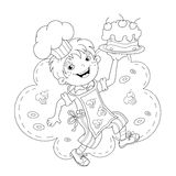 Coloring Page Outline Of cartoon Boy chef with cake Stock Images