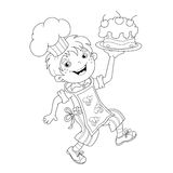 Coloring Page Outline Of cartoon Boy chef with cake Stock Photos